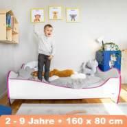 Alcube 'Swinging Pink Edge' Kinderbett 160 x 80 cm mit Rausfallschutz inkl. Lattenrost und Matratze, weiß