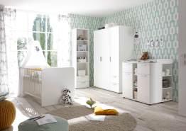 Bega 'Bibo' 4-tlg. Babyzimmer-Set, weiß, aus Bett 70x140 cm, Wickelkommode inkl. 2 Unterstellregalen, 3-trg. Kleiderschrank, Standregal und Wandboard