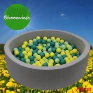 Bio Premium Bällebad BLUMENWIESE in hellgrau mit 300 Bällen aus Zuckerrohr