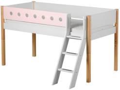 Flexa 'White' Halbhochbett weiß/natur/rosa, schräge Leiter, 90x200cm