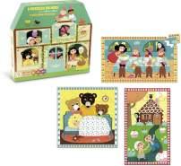 3 Holzpuzzles mit Märchenmotiven, 16 bis 35 Teile, aus Holz, von vilac