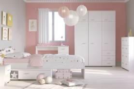 PARISOT 'Galaxy' 5-tlg. Kinderzimmer-Set, weiß, aus Bett 90x200 cm, Kleiderschrank, Nachttisch, Kommode und Schreibtisch