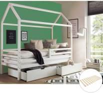 Hausbett 'Luana', weiß, Kiefer massiv, inkl. Schubladen und Rollrost