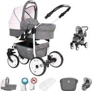Friedrich Hugo Berlin | 2 in 1 Kombi Kinderwagen | Luftreifen | Farbe: Grey and Light Rose Day