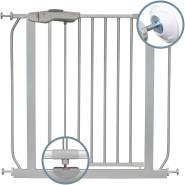 ib styleKAYA   Das Premium Treppengitter mit ALLEN Sicherheitsmerkmalen  ! Inkl. Wandschutzkappen !   Kein Bohren   Grau  120-130 cm + 2x Y-Adapter
