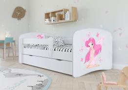 Kinderbett Jugendbett Weiß mit Rausfallschutz Schublade und Lattenrost Kinderbetten für Mädchen und Junge - Fee mit Schmetterlingen 70 x 140 cm
