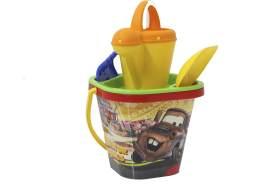Aiman – Sandeimerset Set Cars MC Queen – 5 Teiliges Set, mit Eimer, Gießkanne, Sieb, Schaufel, Rechen, Sandkasten Spielzeug, Sandelspielzeug, Strandspielzeug, Spielzeug, Sandspielsachen