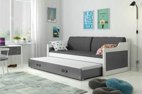 Stylefy Tore Funktionsbett 80x190 cm Weiß Graphit