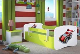 Kocot Kids 'Rennwagen' Kinderbett 80 x 180 cm Grün, mit Rausfallschutz, Matratze, Schublade und Lattenrost