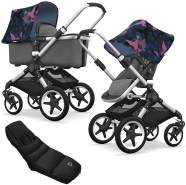 Bugaboo Fox Kinderwagen Birds Gey mit High Performance Fußsack, Alu Gestell