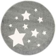 ScandicLiving Kinderteppich rund 133 cm Sterne silbergrau