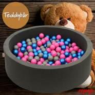 Bio Premium Bällebad TEDDYBÄR in dunkelgrau mit 300 Bällen aus Zuckerrohr