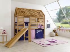 Relita Tom´s Hütte Spielbett mit Rutsche Buche massiv geölt, inkl. Textilset rosa-violett