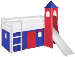 Lilokids 'Jelle' Spielbett 90 x 190 cm, Blau Rot, Kiefer massiv, mit Turm, Rutsche und Vorhang