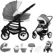 Bebebi Florenz | Luftreifen in Weiß | 2 in 1 Kombi Kinderwagen | Luftreifen | Farbe: Galileo Lightgrey Black