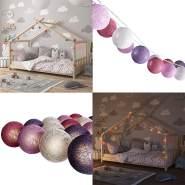 VitaliSpa 'Cotton Balls' Lichterkette Girlande weiß/pink/rosa 310 cm
