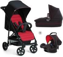 Hauck Rapid 4 Plus Trio Set 3 in 1 Kinderwagen Set bis 25 kg, isofix-fähige Babyschale, Babywanne mit Matratze ab Geburt, höhenverstellbarer Griff, klein faltbar, leicht, caviar/tango