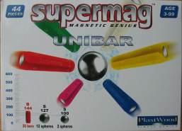 Supermag Magnet-Konstruktionskasten UNIBAR 44 Teile (Farbe: Rot)