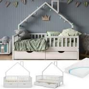VitaliSpa 'Noemi' Hausbett weiß, 80x160cm, Massivholz Kiefer inkl. Matratze, 2x Schubladen, Lattenrost und Rausfallschutz