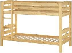 Erst-Holz Etagenbett 90x200 cm, natur, inkl. Rollroste