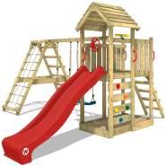 WICKEY Spielturm Klettergerüst RocketFlyer mit Schaukel & roter Rutsche, Kletterturm mit Sandkasten, Leiter & Spiel-Zubehör