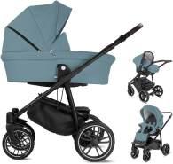 Bebebi Minigo Beat   3 in 1 Kombi Kinderwagen Gelreifen   Farbe: Blue Grey