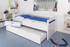 Kinderbett/JugendbettEasy Premium Line K1/h/s inkl. 2. Liegeplatz und 2 Abdeckblenden, 90 x 200 cm Buche Vollholz massiv weiß lackiert