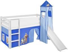Lilokids 'Jelle' Spielbett 90 x 190 cm, Star Wars Blau, Kiefer massiv, mit Turm, Rutsche und Vorhang