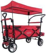 FUXTEC 'FX-CT800' Bollerwagen in Rot, inkl. Sonnendach, Schutzhülle, Hecktasche, zusätzlicher Schiebegriff und Innenraumverlängerung