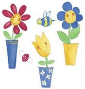 WALLIES Wandaufkleber Silly Flower Pots