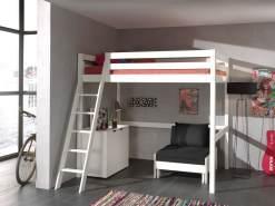 Hochbett mit Liegefläche 90 x 200 cm, Kommode und Sessel, Kiefer massiv weiß lackiert