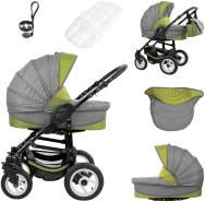 Bebebi Florenz   ISOFIX Basis & Autositz   4 in 1 Kombi Kinderwagen   Luftreifen   Farbe: Medici Green Black