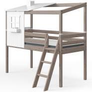 Flexa 'Classic' Halbhochbett mit Baumhausaufsatz, braun, 90x200cm