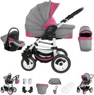 Bebebi Florenz   Luftreifen in Weiß   3 in 1 Kombi Kinderwagen   Farbe: Davanzati Pink White