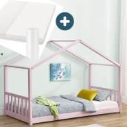 Juskys 'Paulina' Hausbett 90 x 200 cm, rosa, mit Lattenrost und Matratze, Kiefer massiv