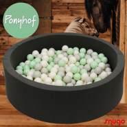 Bio Premium Bällebad PONYHOF in dunkelgrau mit 300 Bällen aus Zuckerrohr