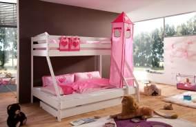Relita 'Mike' Etagenbett weiß inkl. Bettschublade und Textilset Turm und Tasche 'pink/herz'