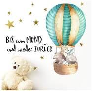 Little Deco Aufkleber Waldtiere im Heißluftballon & Spruch Bis zum Mond I 92 x 47 cm