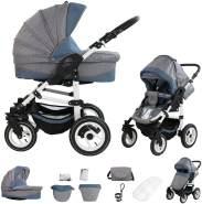 Bebebi Florenz | Luftreifen in Weiß | 2 in 1 Kombi Kinderwagen | Luftreifen | Farbe: Da Vinci Blue White