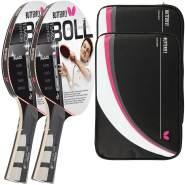 Butterfly 2x Timo Boll Black 85030 Tischtennisschläger + 2x Tischtennishülle Drive Case II