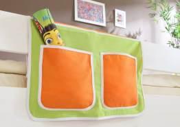 Bett-Tasche grün / orange 100% Baumwolle für Hochbett