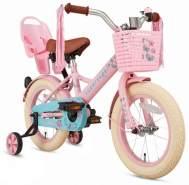 Supersuper Little Miss Kinderfahrrad in Rosa 14 Zoll inkl. Puppensitz, Korb und Stützräder