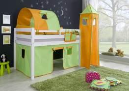 Relita Halbhohes Spielbett ALEX Buche massiv weiß lackiert mit Stoffset Vorhang, 1-er Tunnel, Turm, Tasche