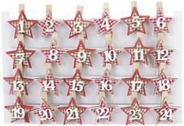 Dekoklammern - Sterne - aus Holz - 24 Stück