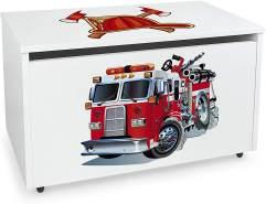 XXL Holz Kinderbank auf Rdern - Feuehrwehrauto - weie Spielzeugkiste mit Stauraum