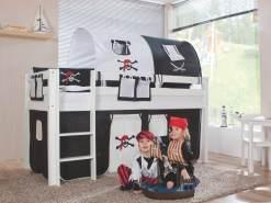 Relita Halbhohes Spielbett ALEX Buche massiv weiß lackiert mit Stoffset Pirat