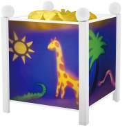 Trousselier - Dschungel - Nachtlicht - Magische Laterne - Ideales Geburtsgeschenk - Farbe Holz weiß - animierte Bilder - beruhigendes Licht - 12V 10W Glühbirne inklusive - EU Stecker