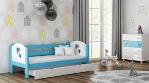 Kinderbettenwelt 'Felicita F3' Kinderbett 80x180 cm, Blau, inkl. Matratze und Rausfallschutz
