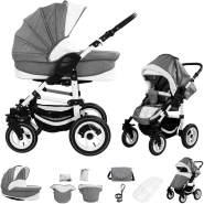 Bebebi Florenz | Luftreifen in Weiß | 2 in 1 Kombi Kinderwagen | Luftreifen | Farbe: Galileo Lightgrey White