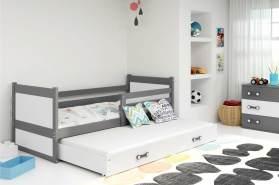 Stylefy Lora mit Extrabett Funktionsbett 80x190 cm Graphit Weiß